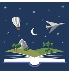 Reading book imagination vector
