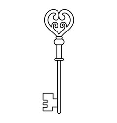 vintage key for coloring book black linear vector image