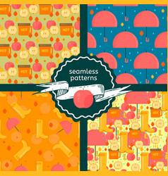 Set of autumn stuff patterns vector