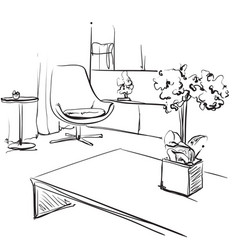 Hand drawn room interior sketch furniture vector