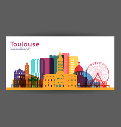 Toulouse colorful architecture vector