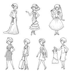 Set of fashion girls vector