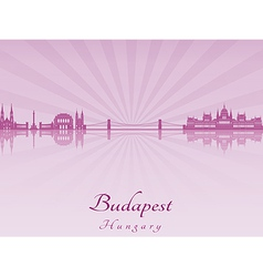 Budapest skyline in purple radiant orchid vector