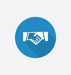 Handshake flat blue simple icon with long shadow vector