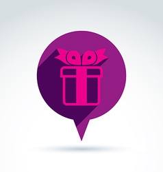 Speech bubble with a purple gift box sign present vector
