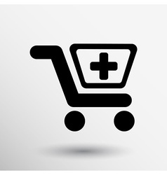 Isolated shopping cart icon with a pharmacy sign vector