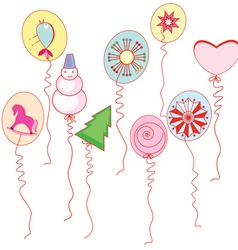Balloons with drawings of the new year vector