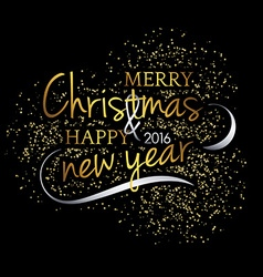 Merry christmas festive black background with gold vector