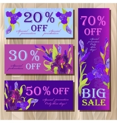 Big sale printable card template with purple iris vector