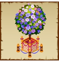Unusual tree bonsai with blue flowers and fence vector