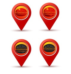 Hamburger pin on the map line icons for vector