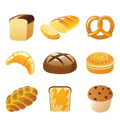 9 highly detailed bread icons vector
