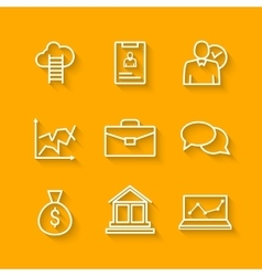 Set of line icons of business people organization vector