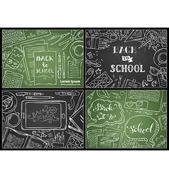 Set of chalk back to school backgrounds vector