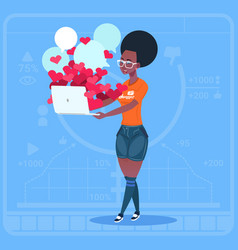 African american girl blogger hold computer with vector