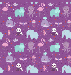 animals cartoon wildlife nature seamless pattern vector image vector image