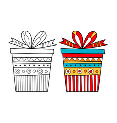 black and white gift box for coloring book vector image vector image