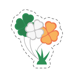 cartoon bunch clover flag irish st patricks day vector image