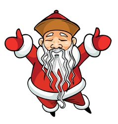 Cartoon chinese santa claus standing with his arms vector