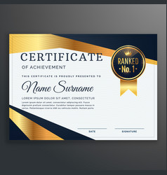 certificate template with golden and black shapes vector image