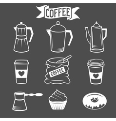 coffee icons isolated over black background vector image