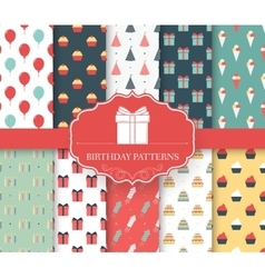 collection set of happy birthday seamless pattern vector image
