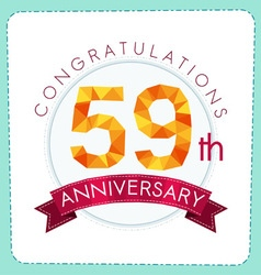 Colorful polygonal anniversary logo 3 059 vector