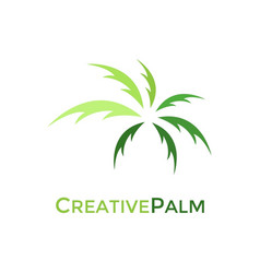 creative green palm logo design vector image vector image