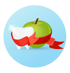 dental care apple and tooth on vector image vector image