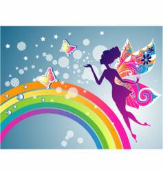 fairy rainbow graphic vector image vector image