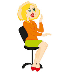 Girl in easy chair vector