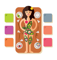 girl with japanese sushi rolls flat style vector image vector image