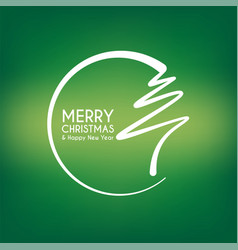 Green abstract merry christmas tree line vector