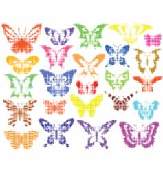 halftone butterflies vector image vector image