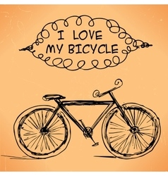 hand-drawn bicycle on grungy background vector image vector image
