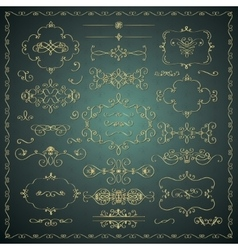Hand drawn decorative golden design vector