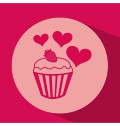 heart red cartoon cupcake strawberry icon design vector image