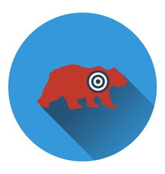 Icon of bear silhouette with target vector