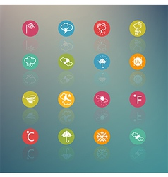Icons weather circle series on retina background vector