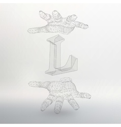 letter L and hand of lines vector image