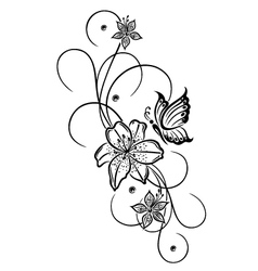 Lily butterfly vector