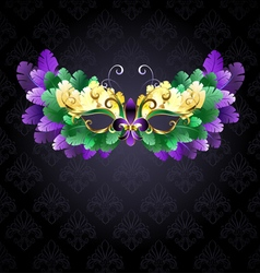 Mardi Gras Mask of Feathers vector image vector image