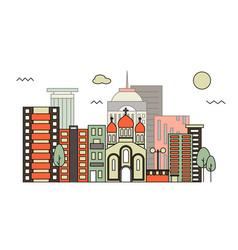 Modern street scenery in flat design style vector