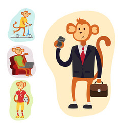 monkey cartoon suit person costume character vector image vector image