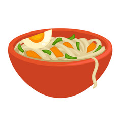 Noodles with greens crispy carrot and egg piece vector