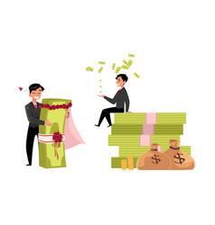 Office worker sitting on money pile set vector