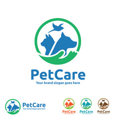 pet care logo with dog cat bird and hand symbols vector image