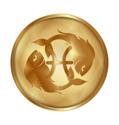 Pisces gold medallion drive vector