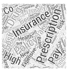 Prescription insurance policies word cloud concept vector