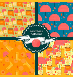 Set of autumn stuff patterns vector